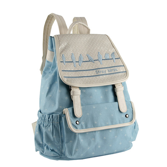 咔米儿 飞鸟集帆布双肩包大学生中学生女书包韩版潮小清新可爱背包