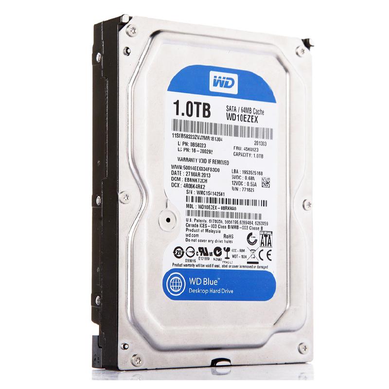 WD/西部数据 WD10EZEX 西数硬盘 1T 台式机1TB 蓝盘64M 单碟