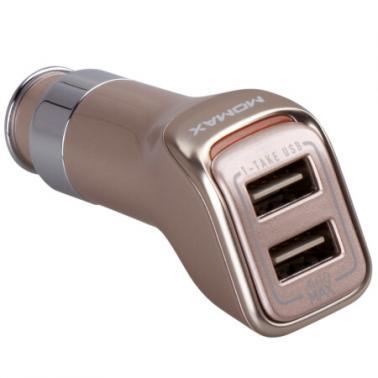 MOMAX摩米士高端车载充电器 4.8A双输出 双面USB车充 正反插拔