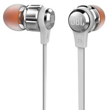 JBL T180A 立体声入耳式耳机 耳麦 一键式线控 麦克风 银色